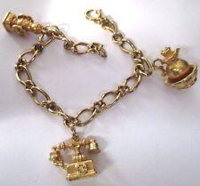 bracelet gourmette bijou rétro couleur or pampilles téléphone signé AVON *389