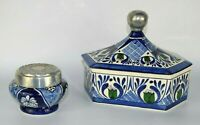 LOT of 2 Mexican Folk Art POTTERY Trinket Jewelry BOX Pewter Lid COBALT BLUE
