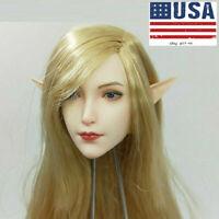 US SUPER DUCK SET043 1/6 Elf Head Sculpt Blonde Hair Fit 12'' Action Figure Body