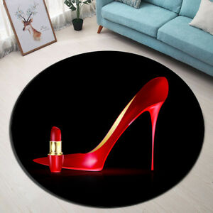 Non-slip Round Big Red Shoe Lipstick Area Rugs Room Floor Yoga Carpet Door Mat