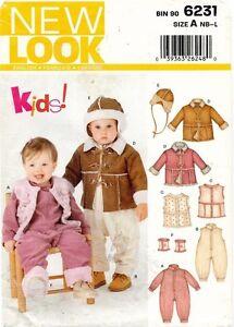 New Look Infant Newborn Snowsuit Winter Outfit Bomber Hat  Pattern 6231 NB-L UNC