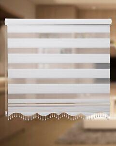 Duorollo, Zebra Perde, Doppel Rollo mit Perlen + Volant Weiß/Silber Plissee MS01