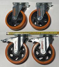 4 Coolyeah 5 Swivel Plate Pvc Orange Caster Wheels 2 With Brake 2 Witho Brake