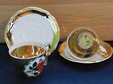 2 x Mokkatassen mit Unterteller, Schumann/Schaller/Bavaria, Dekor: Gold / Rose