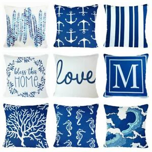 "Cushion COVER Blue White Soft Home Decor Decorative Love Sea Pillow Case 18x18"""