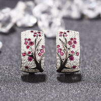 Elegant Women 925 Silver Red Ruby Plum Flower Ear Stud Hoop Earrings Jewelry