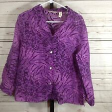 French Laundry Womens Top Blouse Shirt Purple Sheer Button Front Size Medium