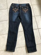 Women's Cato Stretch Straight Embellished Flap Pockets Jeans Size 16