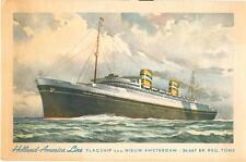 1930s LITHO postcard - Holland-America Line flagship TSS Nieuw Amsterdam