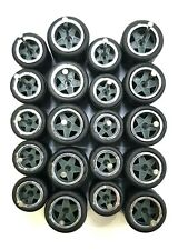 10 sets 5 star big/small Grey Chrome long axle fit 1:64 hot wheels rubber tires
