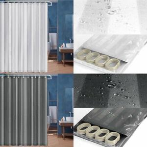 Stripe Wrinkle Free Bathroom Shower Curtains Washable Thick 100% Vinyl Fabric