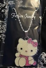 Hello Kitty Sitting Medallion Style Necklace , Sparkling
