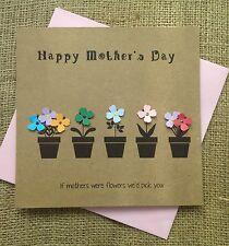 "Luxury Handmade Mother's Day Card ""Flower Plant Pots"" - Mum Nan Grandmother"