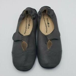 Haflinger Leather Ballerina Flats 40 US 10 Dark Taupe
