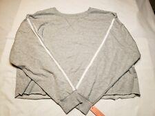 Colsie Womens Gray Sweatshirt Size M White Pinstripe Sleeve Soft Comfy