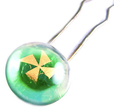 Bun Hair Stick Pins Dichroic Fused Glass Green Gold Pinwheel Fashion Accessories