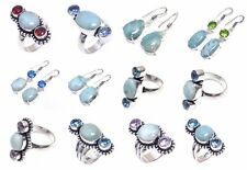 Caribbean larimar and multi stone handmade jewelry ring and earring in variation