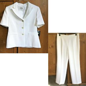LE SUIT Size 12 2 Piece Short Sleeve 3 Button Jacket Pant Suit White MSRP $200