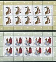 Bund 10 x 2285 - 2286 ** postfrisch KB Bogen Weihnachten 2002 Kleinbogen 10 -er