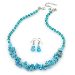 Light Blue Crystal Bead, Turquoise Nugget Cluster Necklace & Drop Earrings S