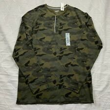 old navy mens shirt medium long sleeve henley camouflage green casual cotton