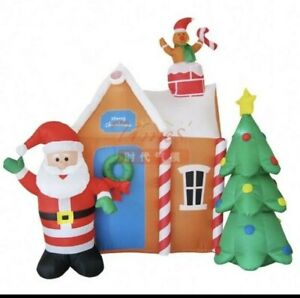 Lytworx Christmas Festive LED Santa inflatable house with tree and gingerbread