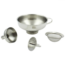 Zoie + Chloe 3-in-1 Stainless Steel Funnel Set - Wide Mouth with Mesh Baske