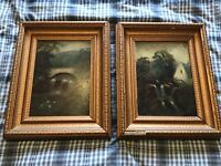 Pair of early 20th century gilt framed original oil paintings