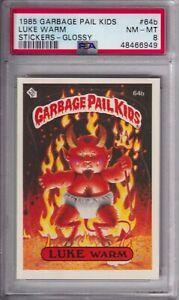 1985 GARBAGE PAIL KIDS STICKERS #64B LUKE WARM GLOSSY PSA 8