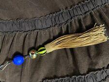 beaded tassel lanyard keychain gold blue