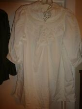 Ladies Decorative Button & Lace White Short Sleeve Blouse Large Polyester
