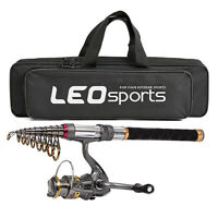 LEO Fishing Rod Reel Combo Carbon Telescopic Fishing Pole Spinning Reels with w0