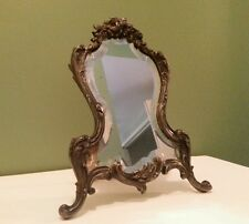 Antique Picture Mirror Photo Frame Victorian Ornate Cast Metal Easel Back