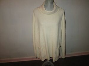 MARGARET WINTERS Ivory Nubby Texture Cotton Long Sleeve Cowl Tunic Sweater 1X