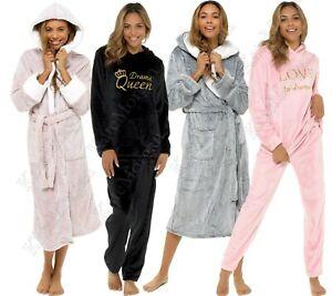 **NEW**  LADIES PYJAMA SET // HOODED DRESSING GOWN SHIMMER FLEECE ROBE SIZE 8-22
