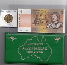 1984 Last $1 Note and First $1 Coin Folder (1*$1 UNC Coin 1*$1 UNC Note)