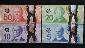 CANADA $50 $20 $10 & $5 Dollars x 4 UNC Polymer Banknotes