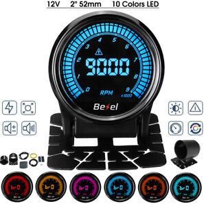 2'' 52mm Digital 10 Color LED Car Tachometer Tacho Gauge Meter 0-9000 RPM 12V