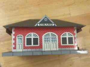 MARX Girard tin, litho, train station, vintage,VG condition Model RR