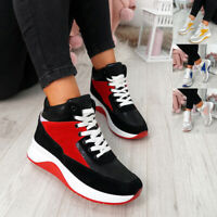 WOMENS LADIES HIGH TOP LACE UP TRAINERS CHUNKY SNEAKERS COMFY SHOES SIZE