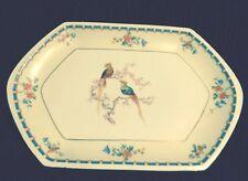 """MZ AltrohLau Czechoslovakia Golden Pheasant Hex Oblong Platter 12 3/4"""" x 8 3/8"""""""