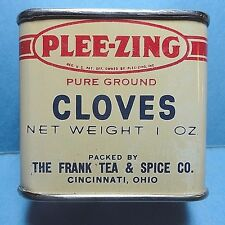 "Vintage ""PLEE-ZING"" Brand Cloves Spice Tin  Never Opened FREE SHIPPING"