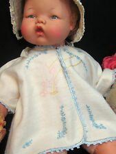 VINTAGE antique HAND EMBROIDERED baby DOLL top JACKET cotton fleece BUNNY swing