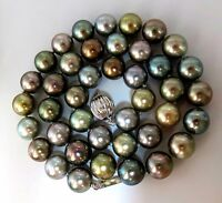 Tahitian Multicolor natural pearl necklace 18 inch 41 pearls