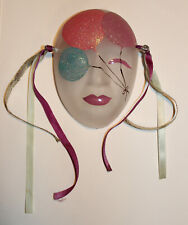 """Rare Clear Mardi Gras New Orleans Birthday Ceramic/Glass Face Wall Mask (4 1/2"""")"""