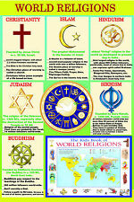 gloss laminated WORLD RELIGIONS major religious groups educational poster new