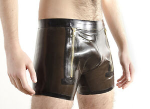 """Rubber """"Sailors"""" SHORTS, double zip front opening, 0.5mm latex, optional colours"""