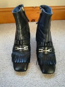 LADIES TOPSHOP BLACK LEATHER ANKLE BOOTS SIZE 40 Uk 6.5 Very Good Used Condition