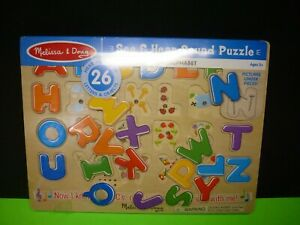 New Melissa & Doug Alphabet Puzzle Set, See & Hear Wooden Toy with Letter Sounds