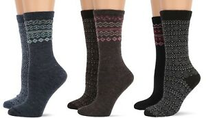 Wise Blend Womens Winter Warm Merino Wool Fairisle Fashion Crew Boot Socks 2 PK